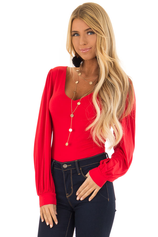 Ruby Red Long Sleeve Bodysuit with Plunging Neckline front close up