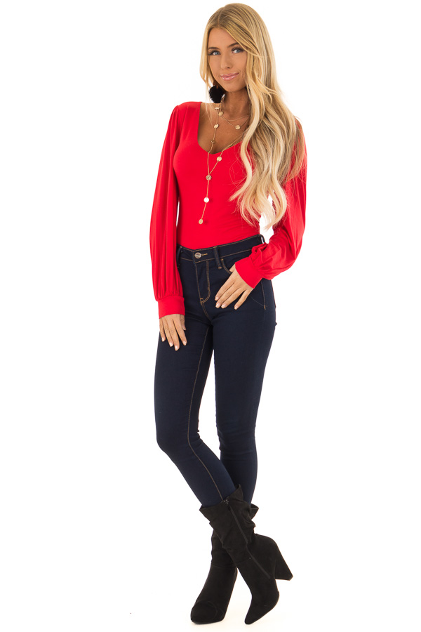 Ruby Red Long Sleeve Bodysuit with Plunging Neckline front full body