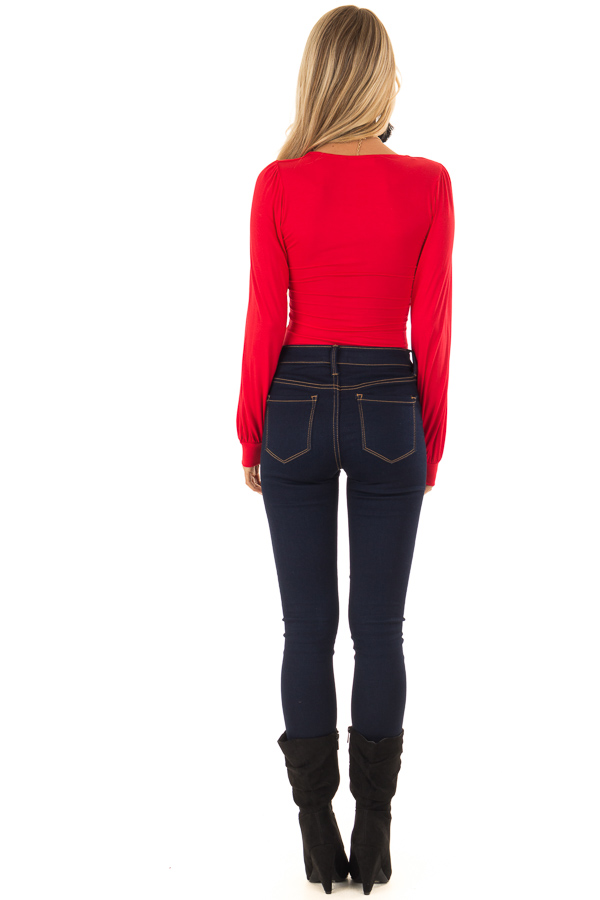 Ruby Red Long Sleeve Bodysuit with Plunging Neckline back full body