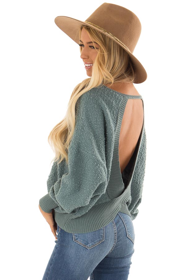 Seafoam Green Long Sleeve Top with Open Back back side clsoe up
