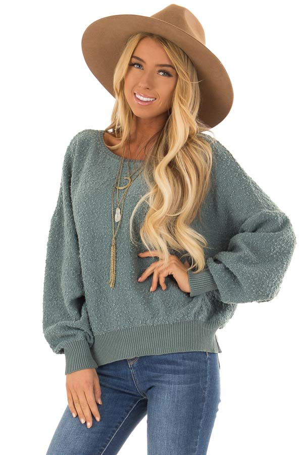 Seafoam Green Long Sleeve Top with Open Back front close up