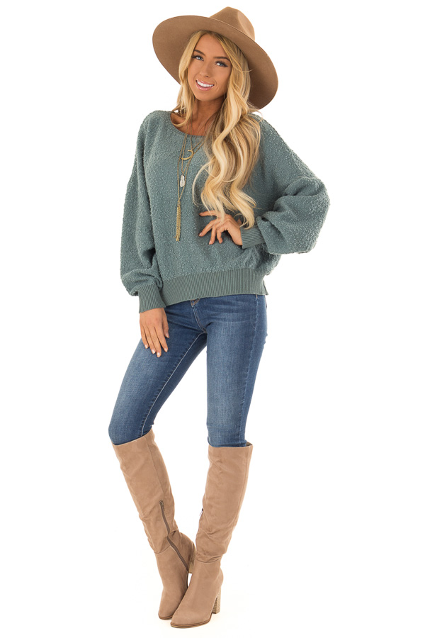 Seafoam Green Long Sleeve Top with Open Back front full body