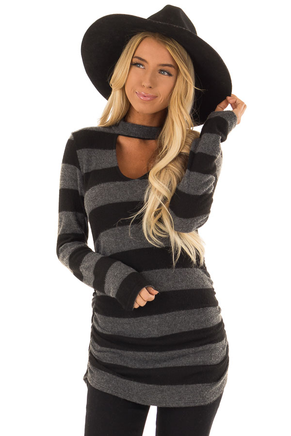 Black and Charcoal Striped Mock Neck Long Sleeve Top front close up