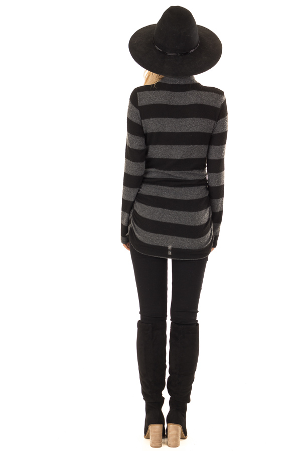 eb930ac398 Black and Charcoal Striped Mock Neck Long Sleeve Top - Lime Lush ...
