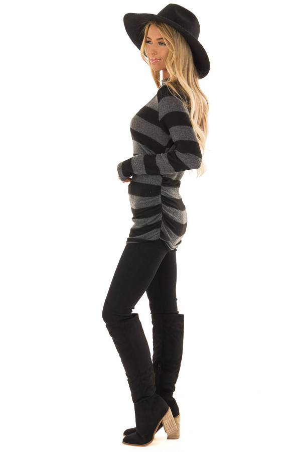 Black and Charcoal Striped Mock Neck Long Sleeve Top side full body