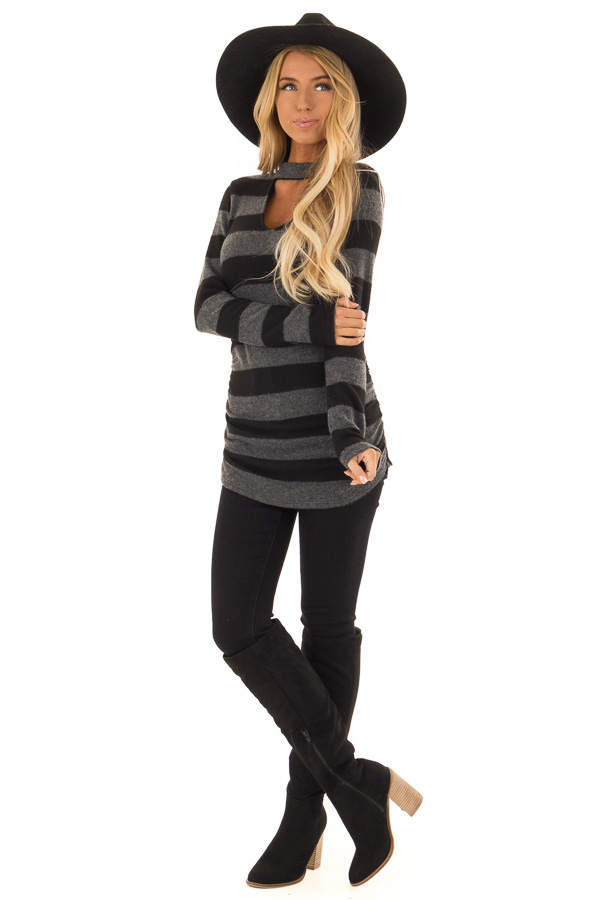 Black and Charcoal Striped Mock Neck Long Sleeve Top front full body