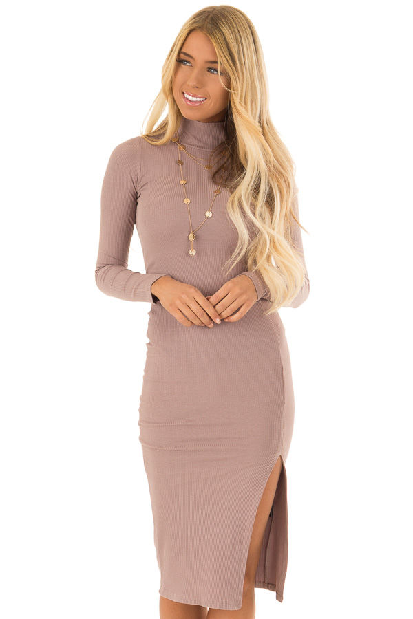 754a146cd494 Mauve Ribbed Knit Turtleneck Bodycon Midi Dress - Lime Lush Boutique