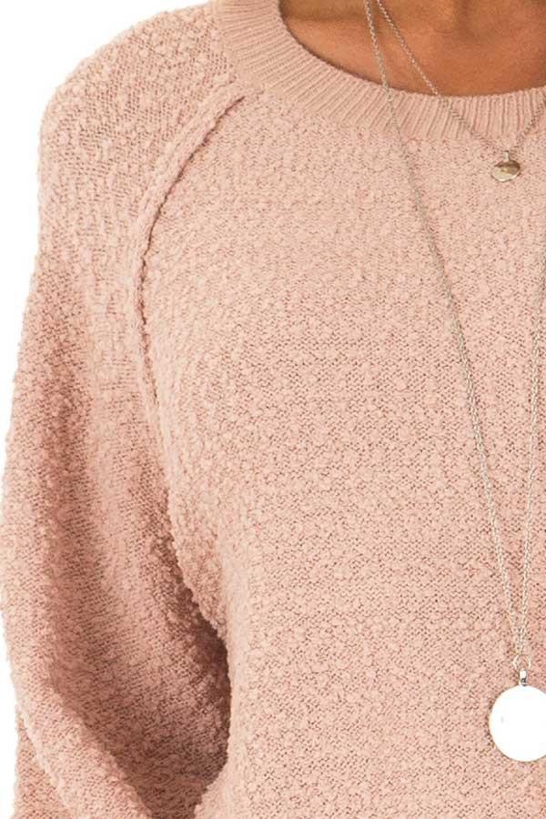 Dusty Blush Popcorn Knit Sweater with Long Balloon Sleeves detail