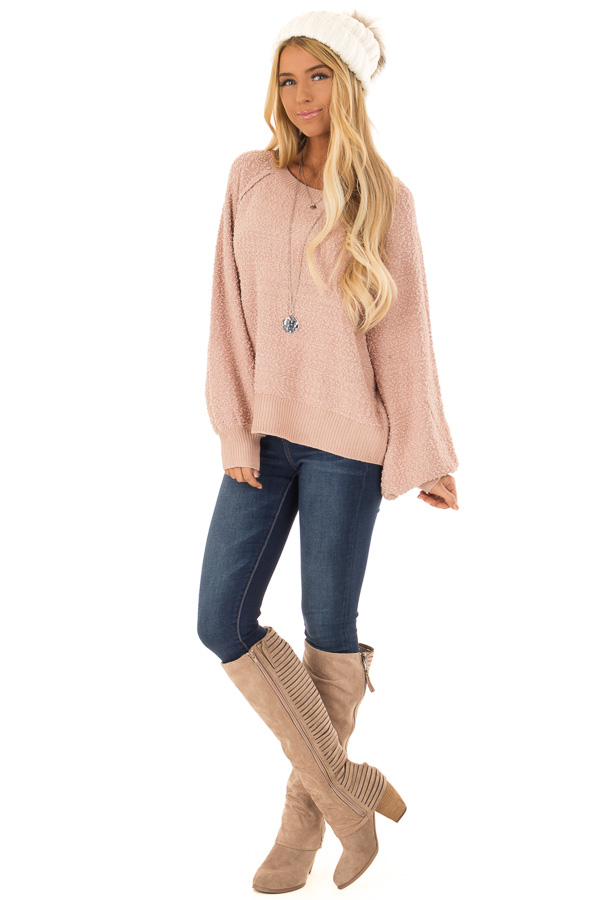 Dusty Blush Popcorn Knit Sweater with Long Balloon Sleeves front full body
