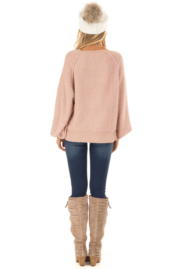 Dusty Blush Popcorn Knit Sweater with Long Balloon Sleeves back full body