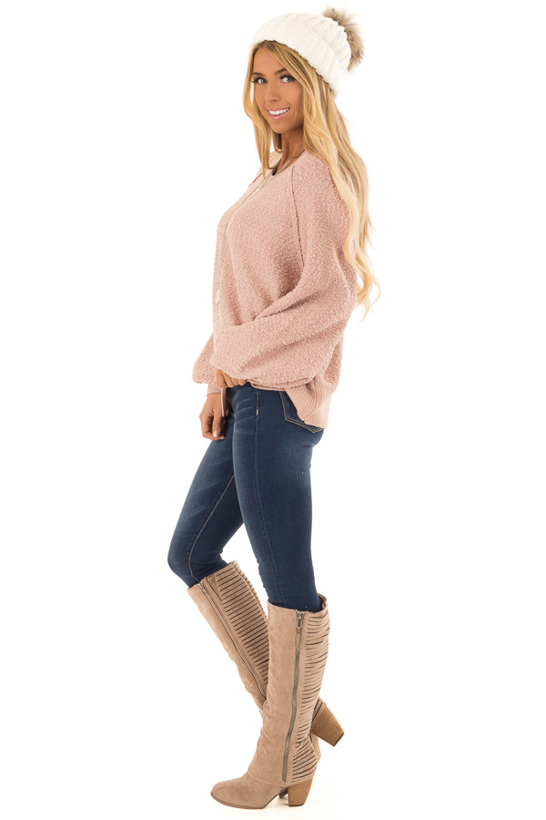 Dusty Blush Popcorn Knit Sweater with Long Balloon Sleeves side full body