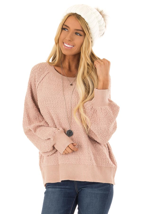 Dusty Blush Popcorn Knit Sweater with Long Balloon Sleeves front close up