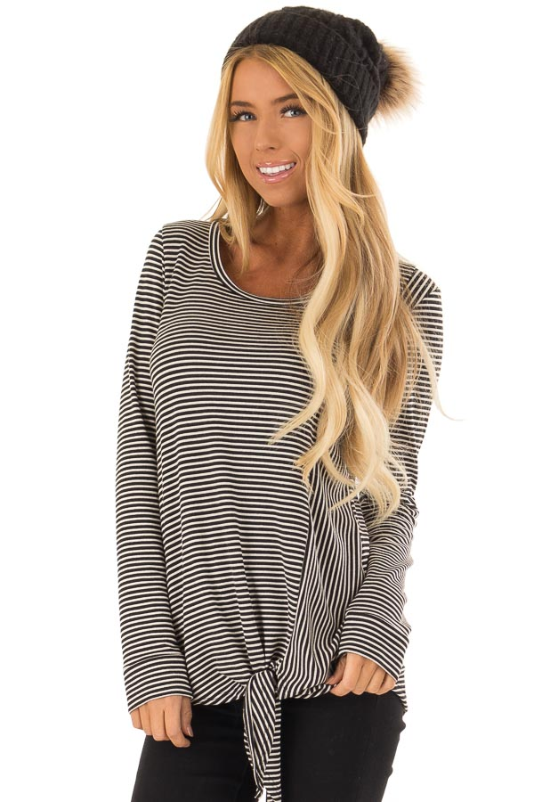 Black and Cream Striped Long Sleeve Top with Front Tie front close up