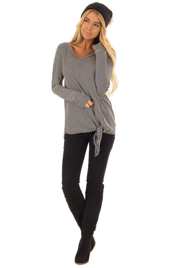 Black and Cream Striped Long Sleeve Top with Front Tie front full body