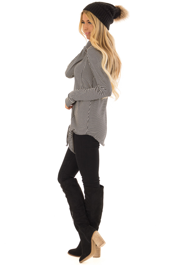 Black and Cream Striped Long Sleeve Top with Front Tie side full body