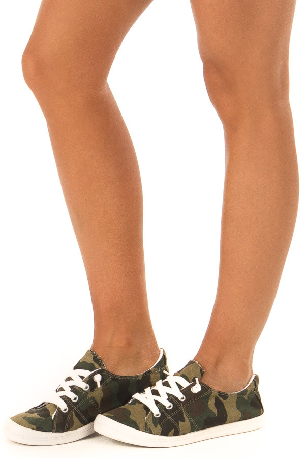 Olive Camo Print Casual Low Top Sneakers front side view
