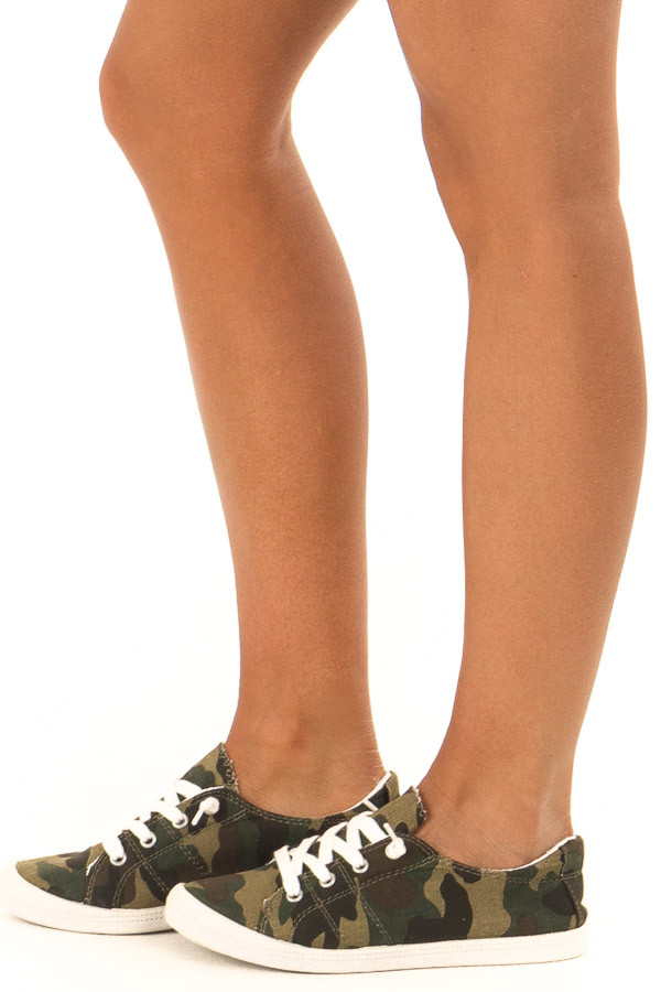 Olive Camo Print Casual Low Top Sneakers side view