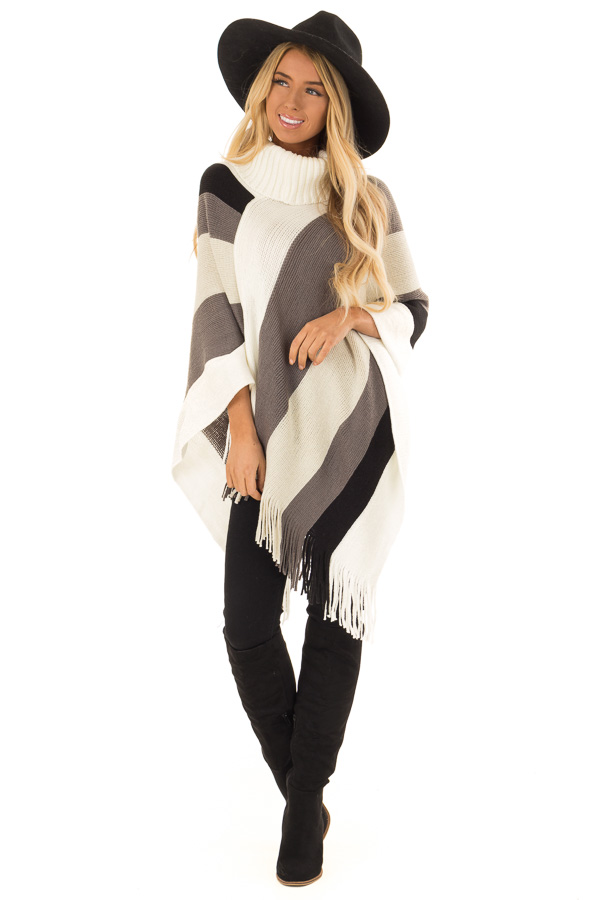Ivory Grey and Black Color Block Poncho with Fringe Detail front full body