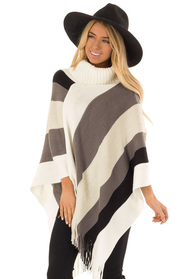 Ivory Grey and Black Color Block Poncho with Fringe Detail front close up