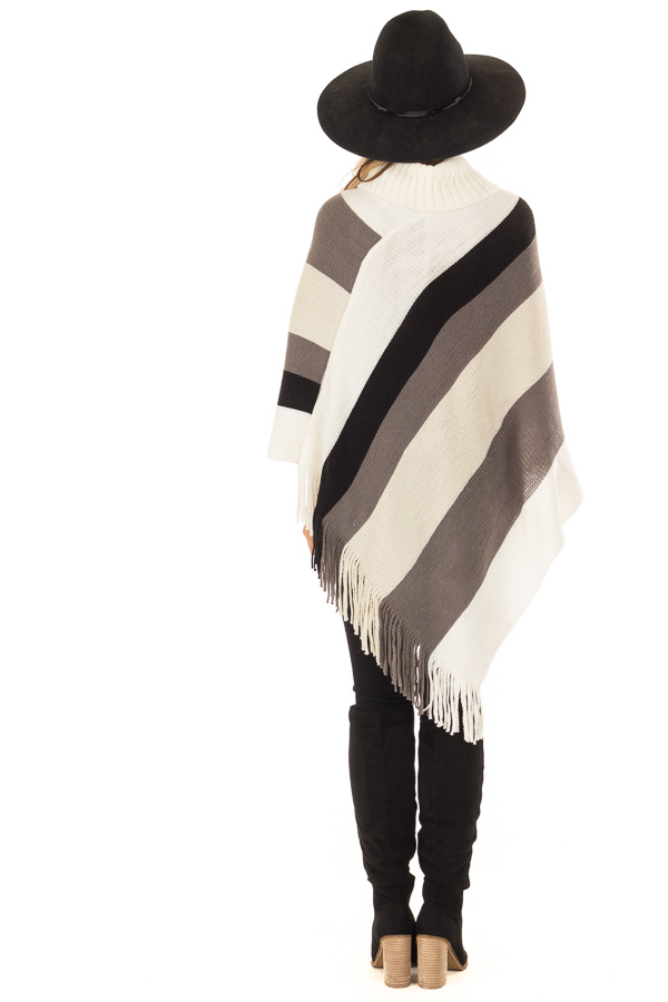 Ivory Grey and Black Color Block Poncho with Fringe Detail back full body