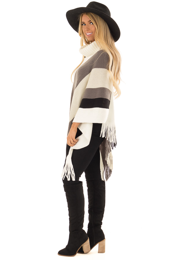 Ivory Grey and Black Color Block Poncho with Fringe Detail side full body