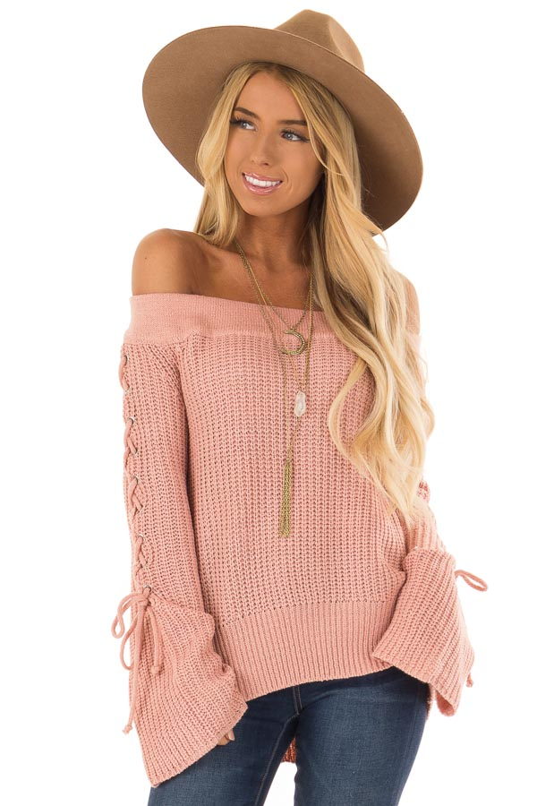 Dusty Pink Off the Shoulder Sweater with Lace Up Detail front close up