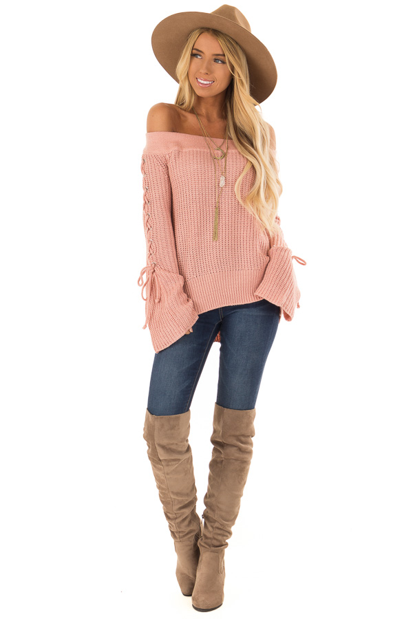 Dusty Pink Off the Shoulder Sweater with Lace Up Detail front full body