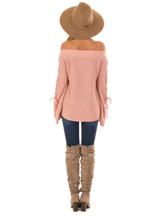 Dusty Pink Off the Shoulder Sweater with Lace Up Detail back full body