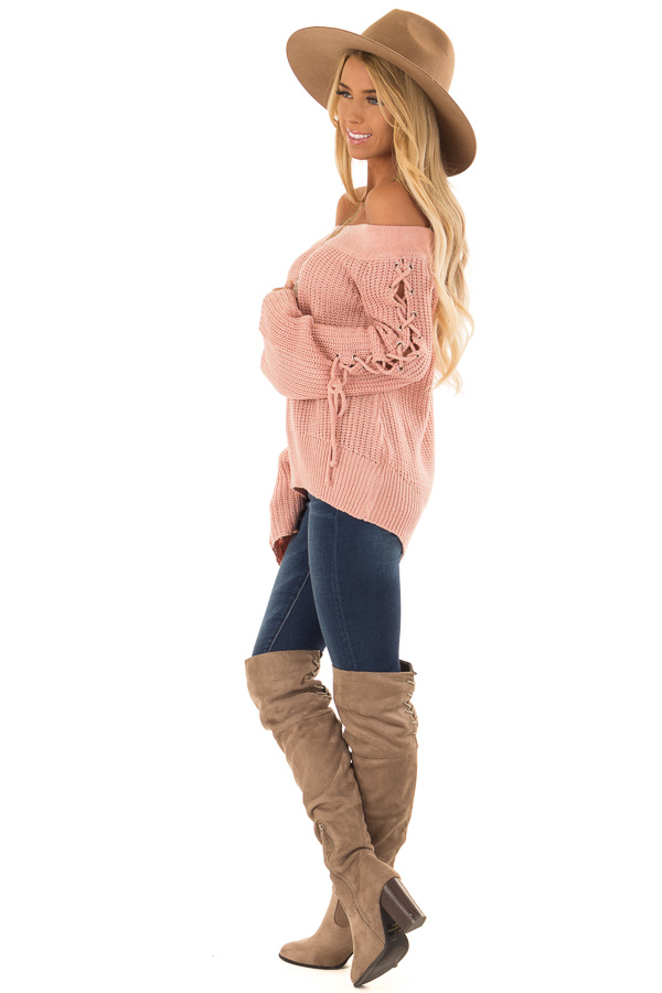 Dusty Pink Off the Shoulder Sweater with Lace Up Detail side full body