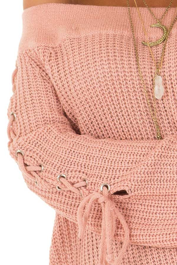 Dusty Pink Off the Shoulder Sweater with Lace Up Detail detail