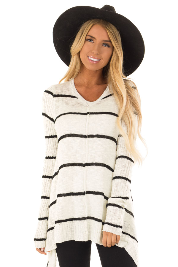 Cream with Black Stripes Long Sleeved V-Neck Sweater front close up