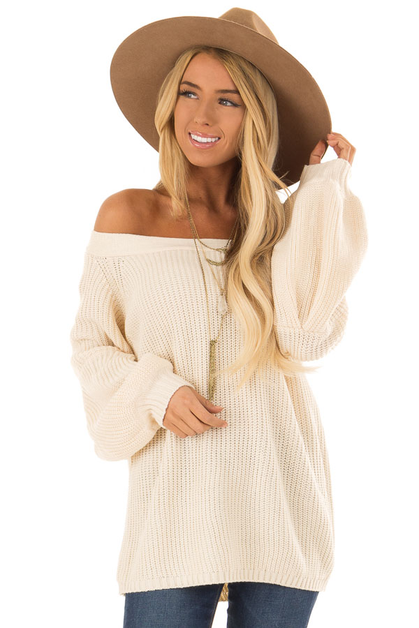 Cream Off the Shoulder Balloon Sleeve Sweater Top front close up
