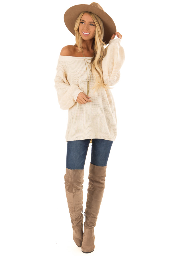 Cream Off the Shoulder Balloon Sleeve Sweater Top front full body
