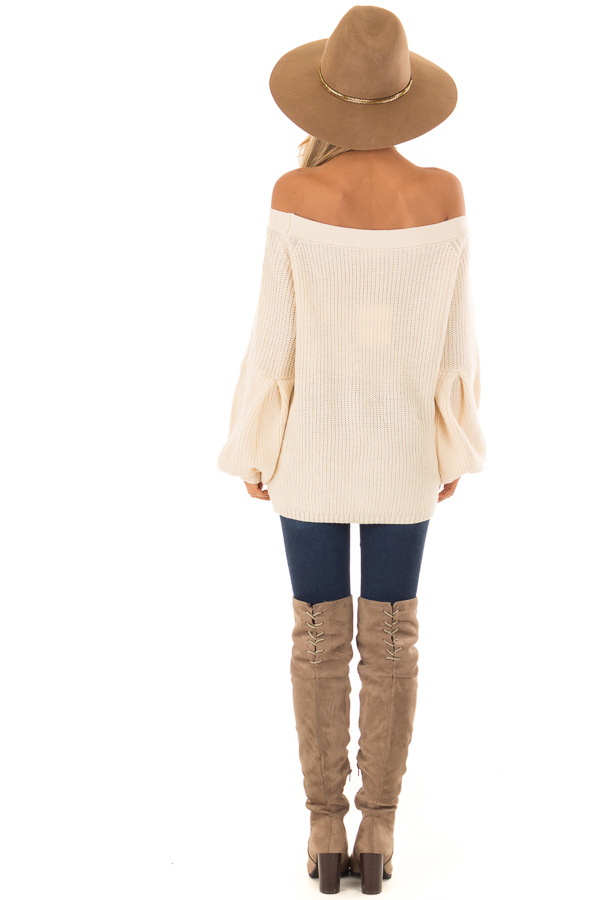 Cream Off the Shoulder Balloon Sleeve Sweater Top back full body