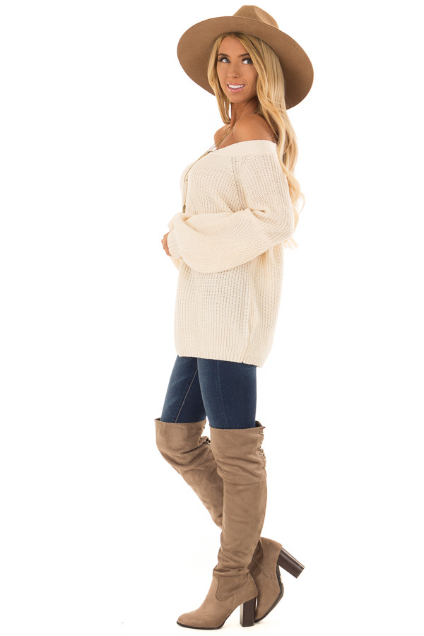 Cream Off the Shoulder Balloon Sleeve Sweater Top side full body