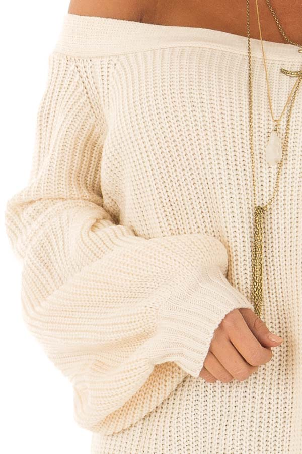 Cream Off the Shoulder Balloon Sleeve Sweater Top detail