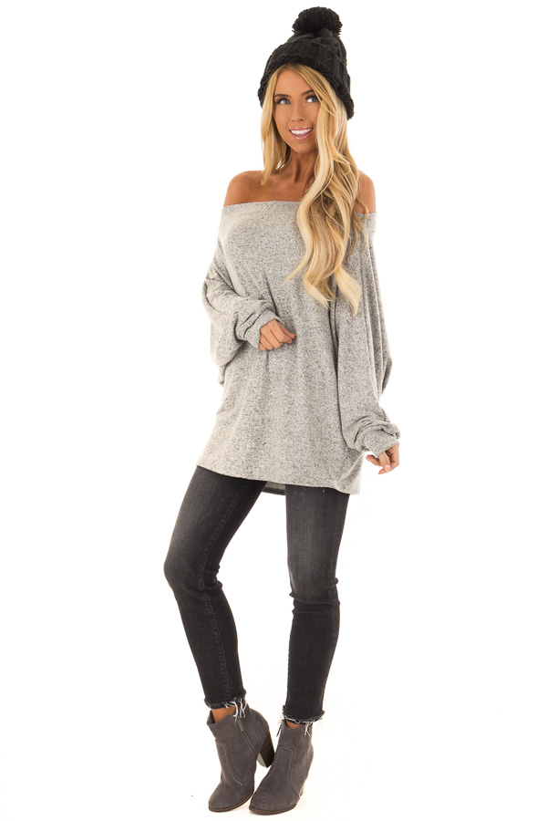 5f8966d73cc796 Heather Grey Long Sleeve Off the Shoulder Dolman Top front full body ...