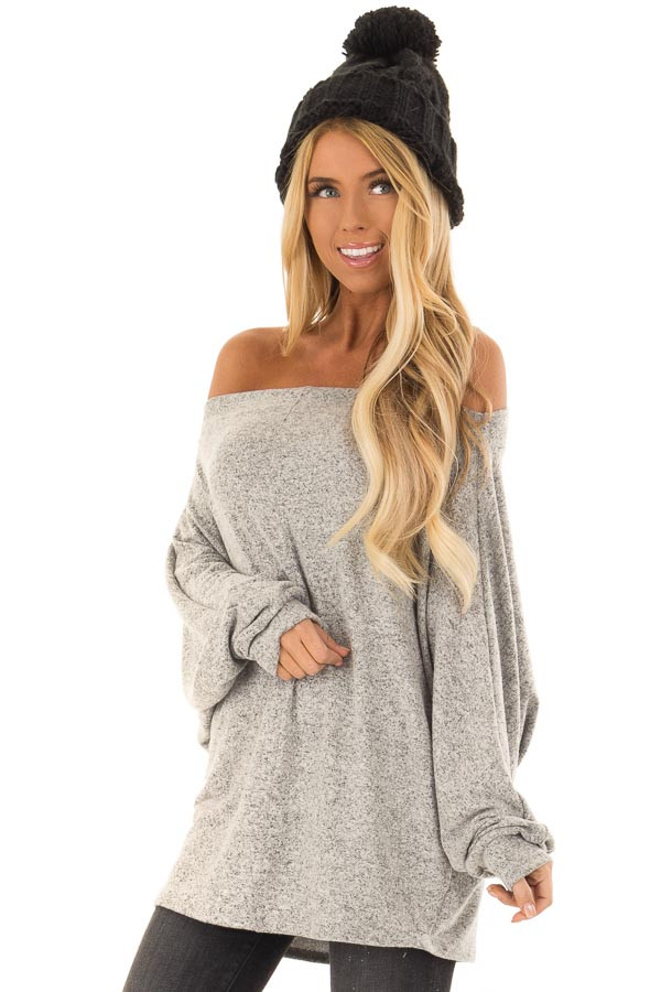 3addb52c3c338 Heather Grey Long Sleeve Off the Shoulder Dolman Top - Lime Lush ...