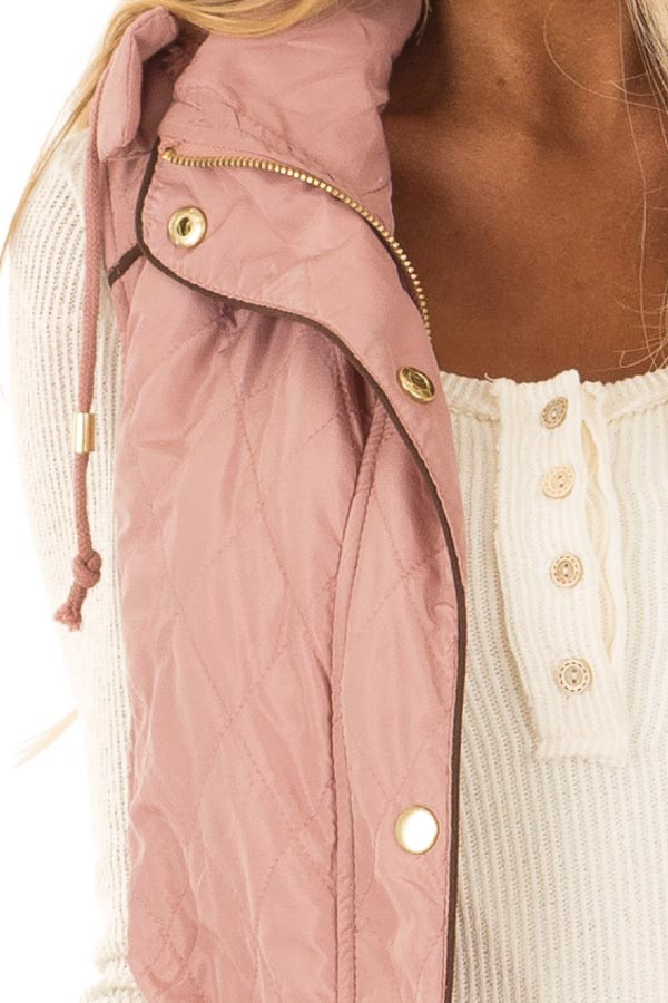 Mauve Fur Lined Hooded Vest with Gold Detail and Front Tie detail