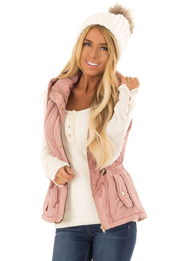 Mauve Fur Lined Hooded Vest with Gold Detail and Front Tie front close up