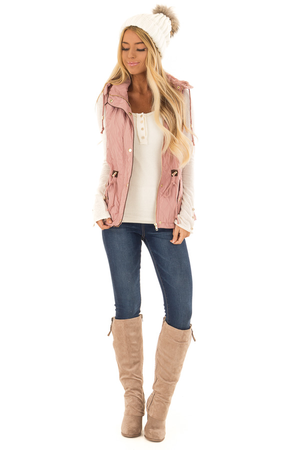 Mauve Fur Lined Hooded Vest with Gold Detail and Front Tie front full body