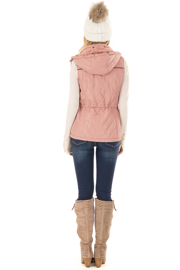 Mauve Fur Lined Hooded Vest with Gold Detail and Front Tie back full body
