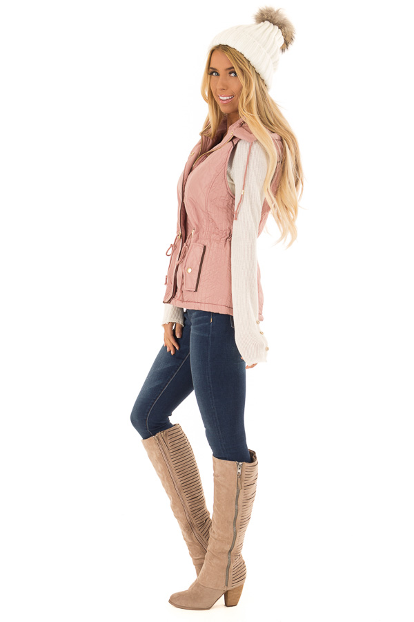 Mauve Fur Lined Hooded Vest with Gold Detail and Front Tie side full body