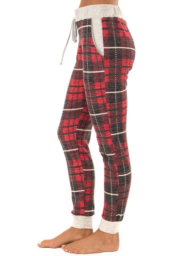 Faded Red Plaid Joggers with Elastic Drawstring Waist side view