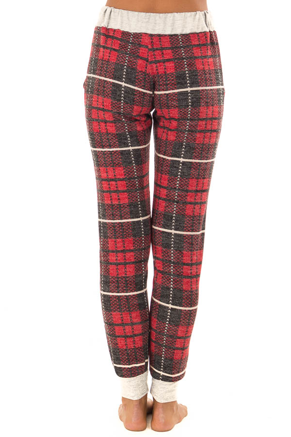 Faded Red Plaid Joggers with Elastic Drawstring Waist back view