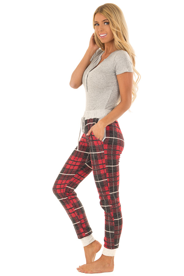 Faded Red Plaid Joggers with Elastic Drawstring Waist side full body