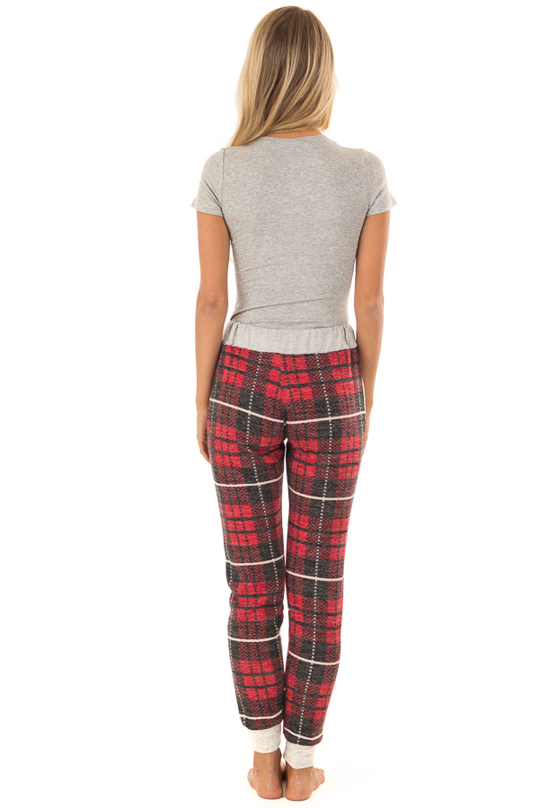 Faded Red Plaid Joggers with Elastic Drawstring Waist back full body