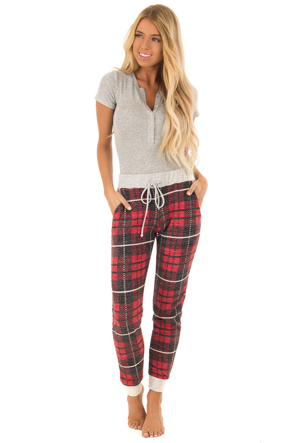 Faded Red Plaid Joggers with Elastic Drawstring Waist front full body