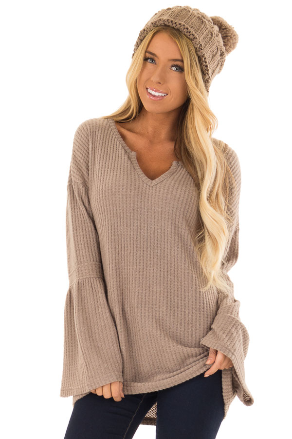 Mocha V Neck Waffle Knit Top with Long Bell Sleeves front close up