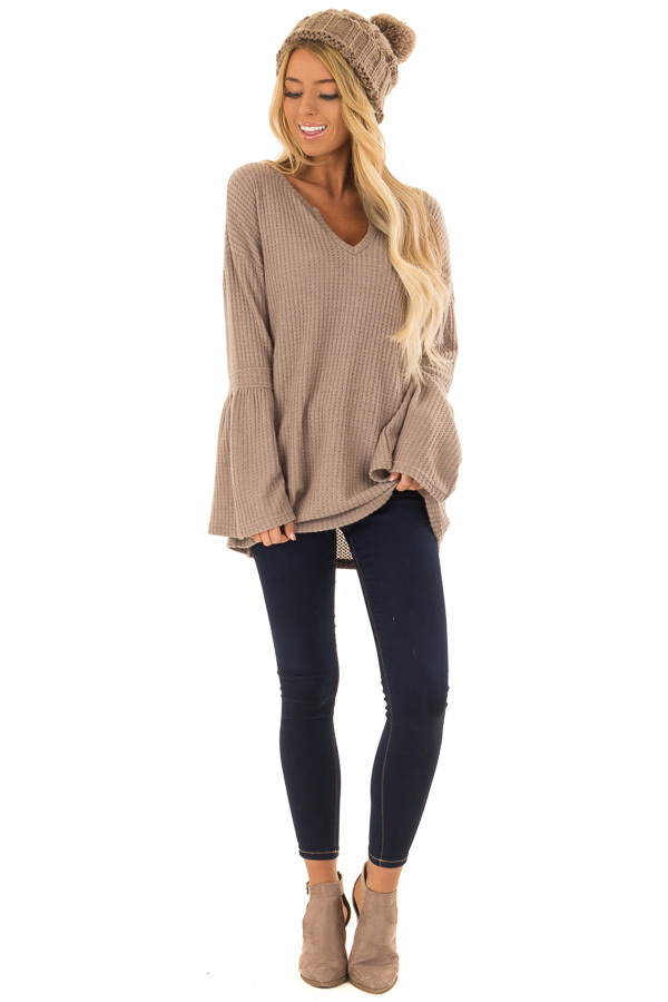 Mocha V Neck Waffle Knit Top with Long Bell Sleeves front full body